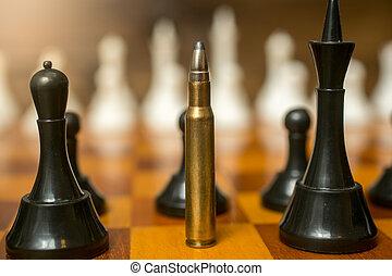 站立, 子彈, 王后, 地方, 國際象棋, 人物面部影像逼真, 部分
