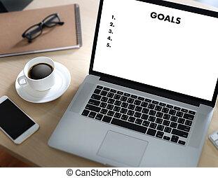 MY GOALS Handwriting of  motivational memo written Target Success Aspiration