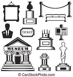 Vector set of museum isolated icons. Black and white museum...