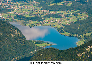 Hallstatter lake birds eye view, Salzkammergut - Hallstatter...