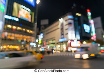 Abstract blur crowd people on crosswalk at Shibuya town in...