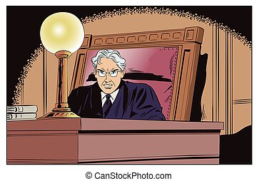 Judge in courtroom. Stock illustration. - Stock...