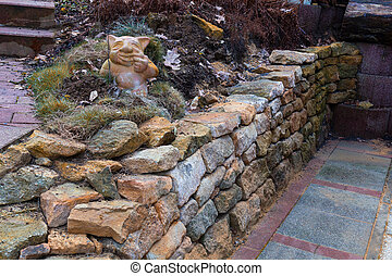Wall of natural sandstone - Dry wall without mortar. Wall of...