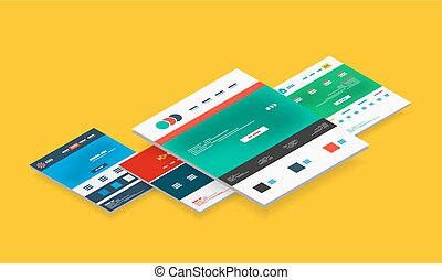 Isometric concept of web site design templates - Isometric...