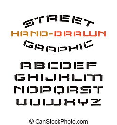 Stencil-plate font in the style of handmade graphics -...