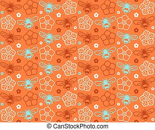 Seamless pattern with image of honey bee and flowers