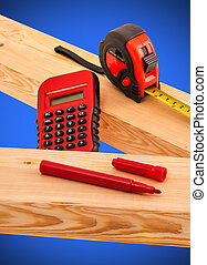 Carpenter Tools - Tools and lumber for building project