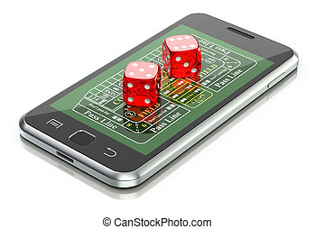Online gambling concept with dice and craps table on the...