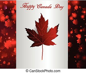 Happy Canada Day background magic maple leaves rain in flag...