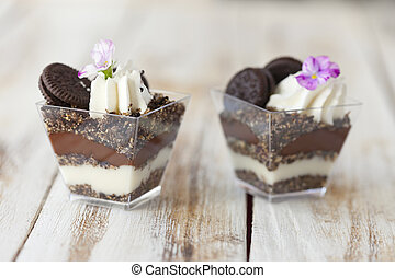 Trifle black and white chocolate with cookie, sweet dessert....