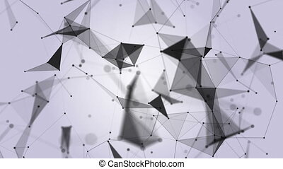 Technology. Abstract Animation. Background. Black and white plexus. Loop Animation.