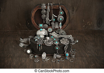 Bohemian style jewelry set in box - Bohemian style silver...
