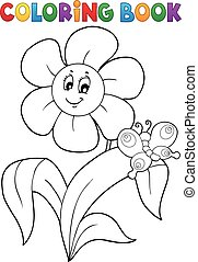 Coloring book flower topic 4 - eps10 vector illustration.