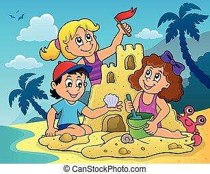 Children building sand castle theme 2 - eps10 vector...