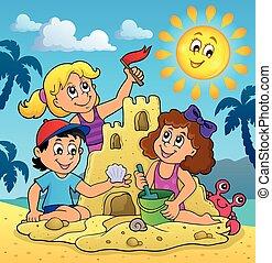 Children building sand castle theme 3 - eps10 vector...