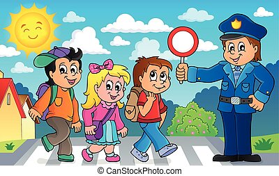 Pupils and policeman image 2 - eps10 vector illustration.