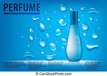 Cosmetic products ad. Blue water drops background with beautiful perfume container. Transparent perfume Vector 3d illustration