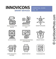 Smart Device - modern vector line icons set