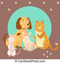 Bright images of domestic animals cat, rat, dog and rabbit. Can be used for pet shops, clinics, pet food advertising.