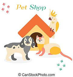Bright images of domestic animals parrot, dog and ferret. Can be used for pet shops, clinics or pet food advertising.