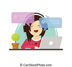 Happy girl working on computer on work desk font view vector, flat cartoon person character sitting on desktop table and chatting online, freelancer workplace, online internet conversation