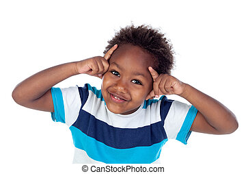 Adorable afroamerican child thinking isolated on a white...