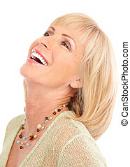 woman - Smiling happy elderly woman Isolated over white...