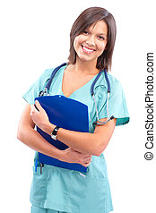 Medical doctor - Smiling medical doctor with stethoscope...