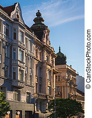 Historical buldings in Brno - Beautiful facades of the...