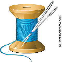 Spool of thread and needles over white. EPS 8, AI, JPEG