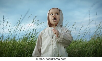 Small child playing with grass in the field. - Little baby...