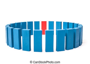 Circle of blue blocks with single red one. All on white...