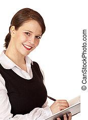 atractivo, sonriente, empresa / negocio, mujer, Escribe,...