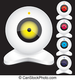 Set of white webcams with bright lights, part 2, isolated on black,vector illustration
