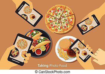 People take a photo of food with smartphone