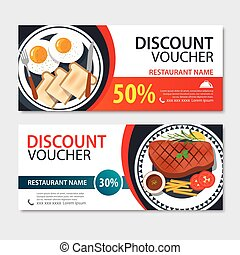 Discount voucher american food template design. Set of steak and breakfast