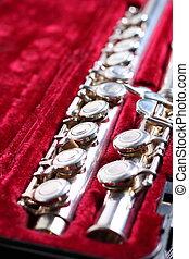 Flute, musical instrument in velvet padded case