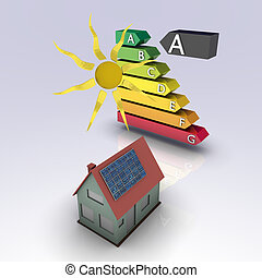 Solar house with energy chart. Concept image for alternative...