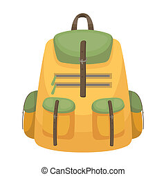 A backpack for things.Tent single icon in cartoon style...