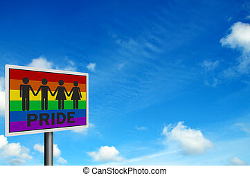 Gay Pride - photo realistic sign, space for your text - Gay...