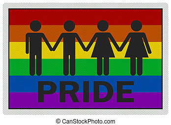 'Gay Pride' - photo realistic sign, isolated on white - 'Gay...