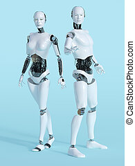 3D rendering of male and female robot.