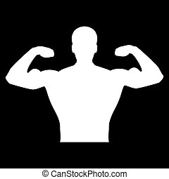 Bodybuilder it is the white color icon .