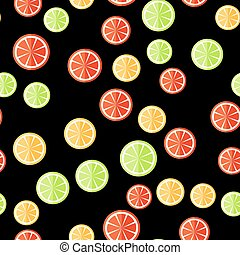 Seamless citrus pattern. Sliced fruits on a black background