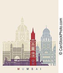 Mumbai skyline poster in editable vector file