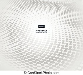 Grey ellipse halftone pattern in perspective on white background for abstract background concept