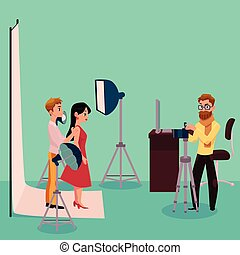 Photographer taking pictures, shooting couple in fully equipped professional studio