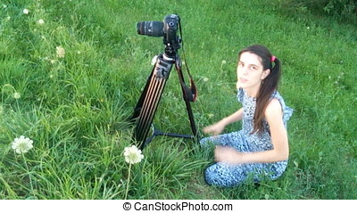 Young Woman Photographer Happy For Taking Pictures With Dslr...