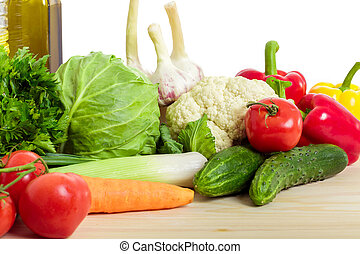 Fresh vegetables on kitchen table. healthy food