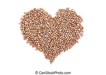 Dried pigeon peas in a heart shape